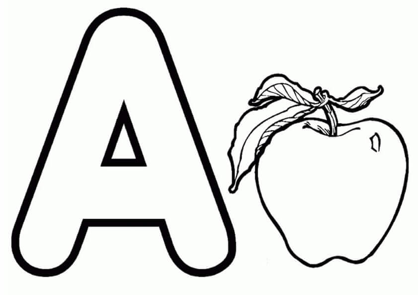 A For Apple Coloring Page
