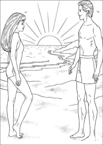 Barbie and Ken coloring page | 500x357