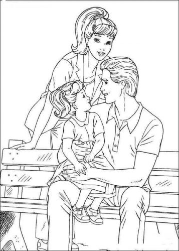 Barbie Family Coloring Pages
