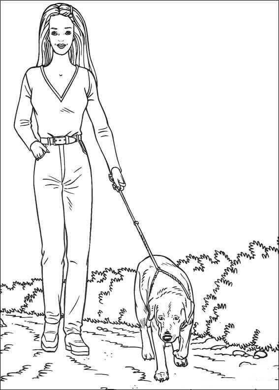 Barbie Walking The Dog