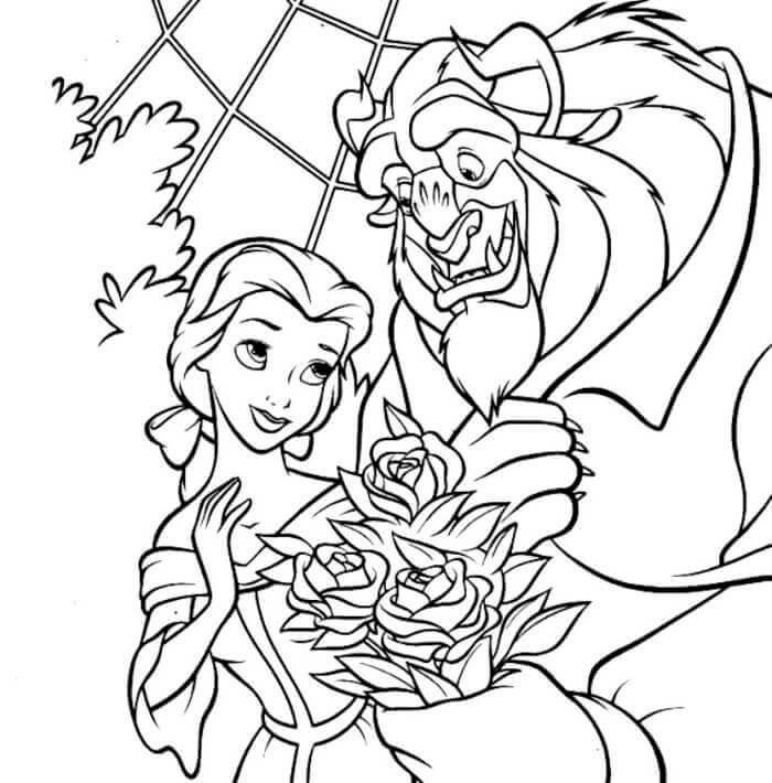 Beast Presenting Flower To Belle