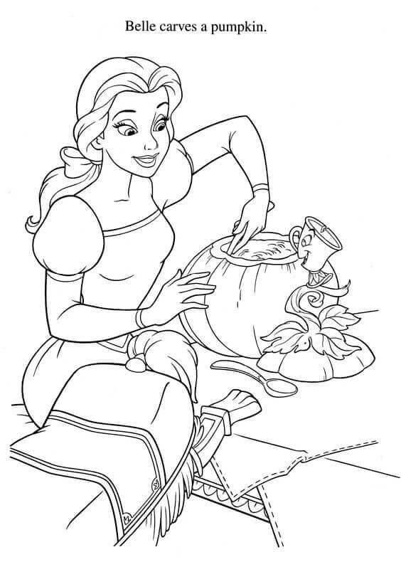 Belle Carving A Pumpkin