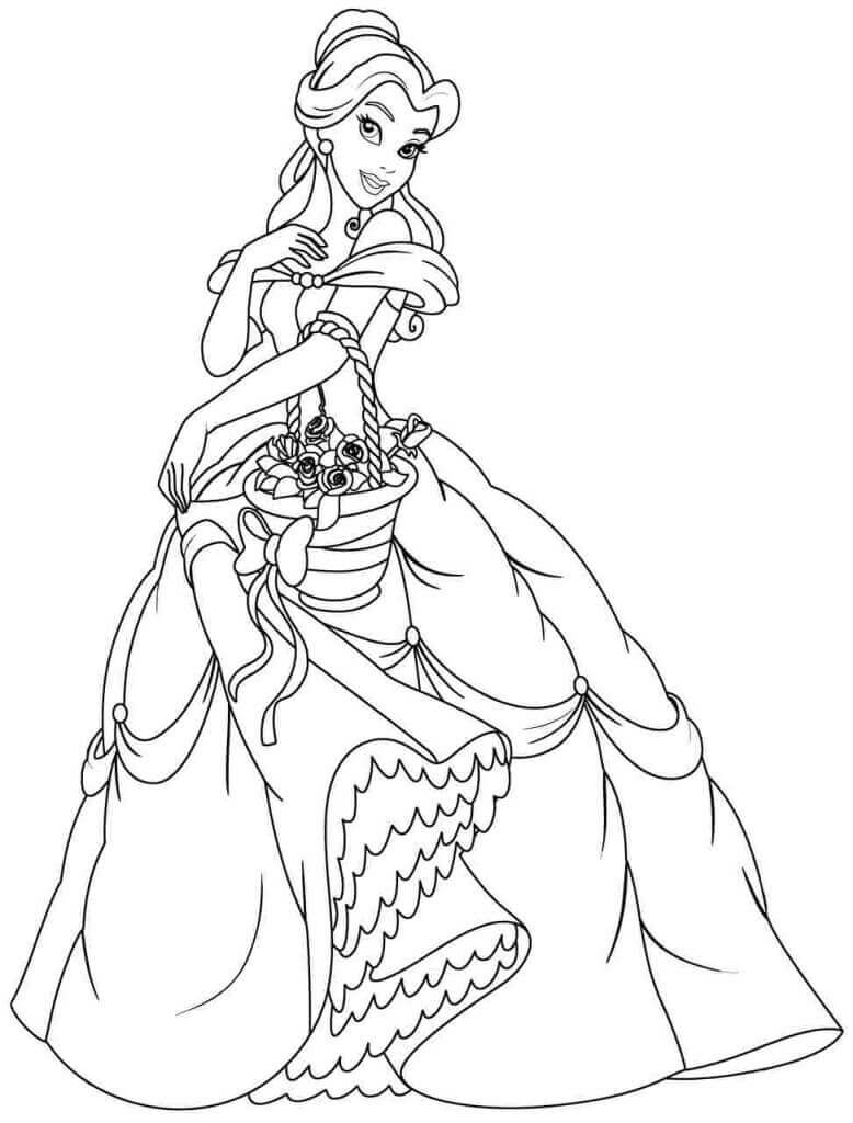 Belle Colouring Pages