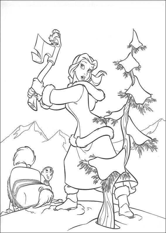 Belle Cuts A Tree