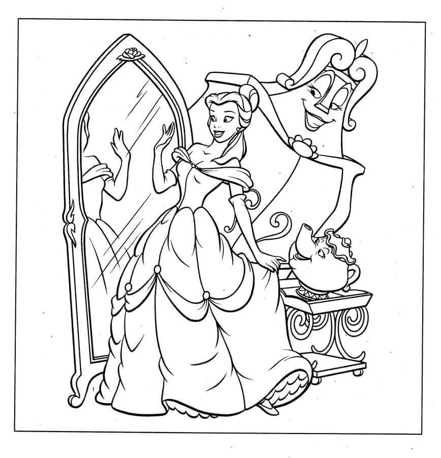 Belle From Beauty And Beast Coloring Pages
