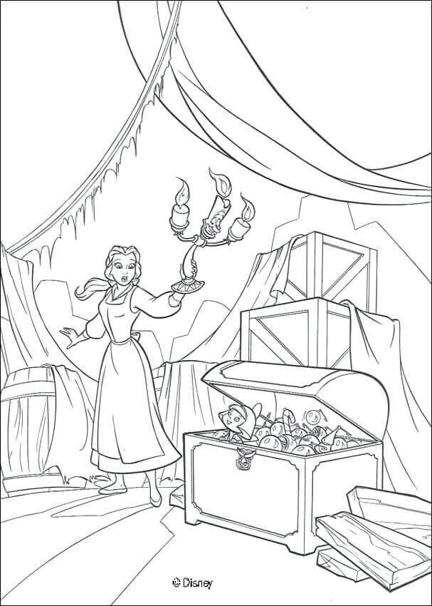 Belle In The Attic Coloring Page