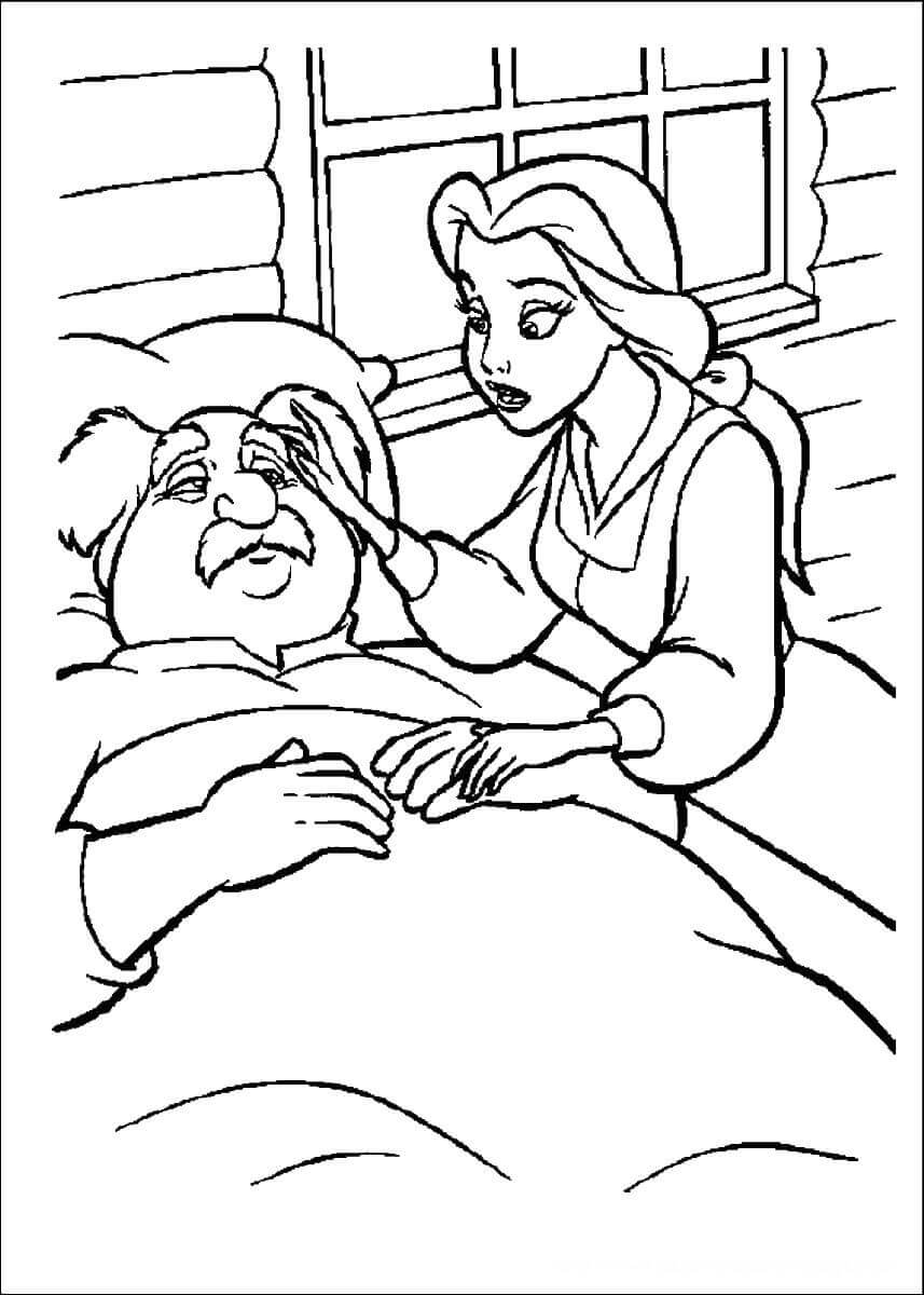 Belle Tending Her Sick Father