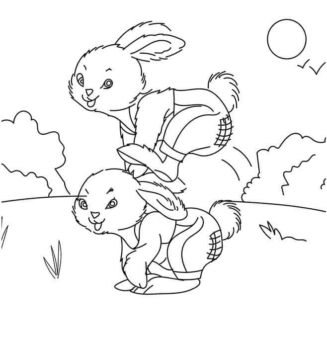 Bunnies Playing Coloring Page
