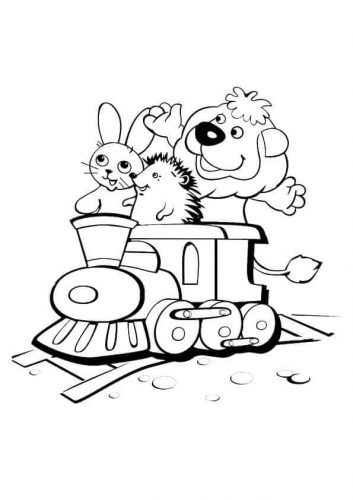 Bunny Lion And Hedgehog On A Ride