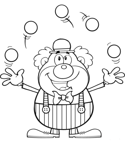Clown Juggling Balls Coloring Page