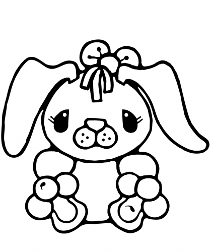 Cute Bunny Rabbit Coloring Page