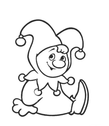 Cute Clown Coloring Page
