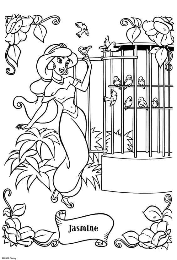 Disney Princess Jasmine Coloring Pages
