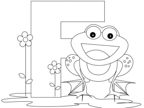 F For Frog Coloring Page
