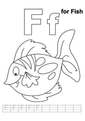 F for Fish coloring page