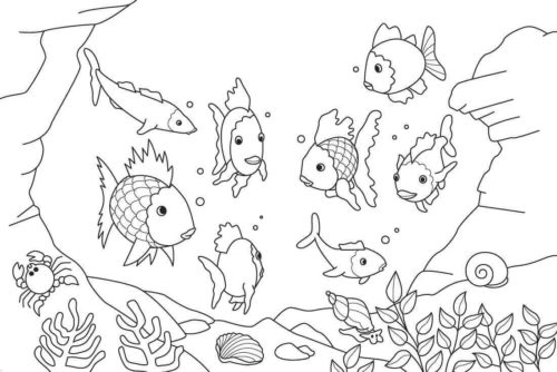 Fish In The Ocean Coloring Page