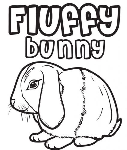 Fluffy Bunny Coloring Page