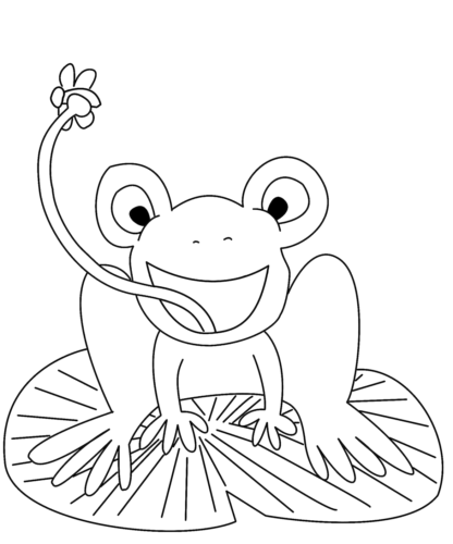 Frog On Lilypad Coloring Page