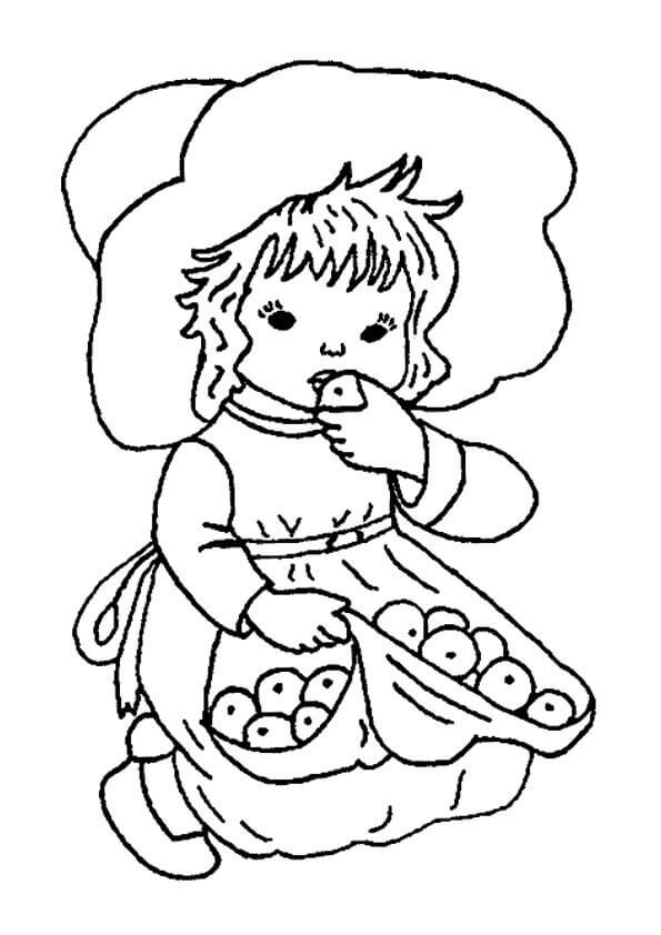 Girl Eating Apple Coloring Page