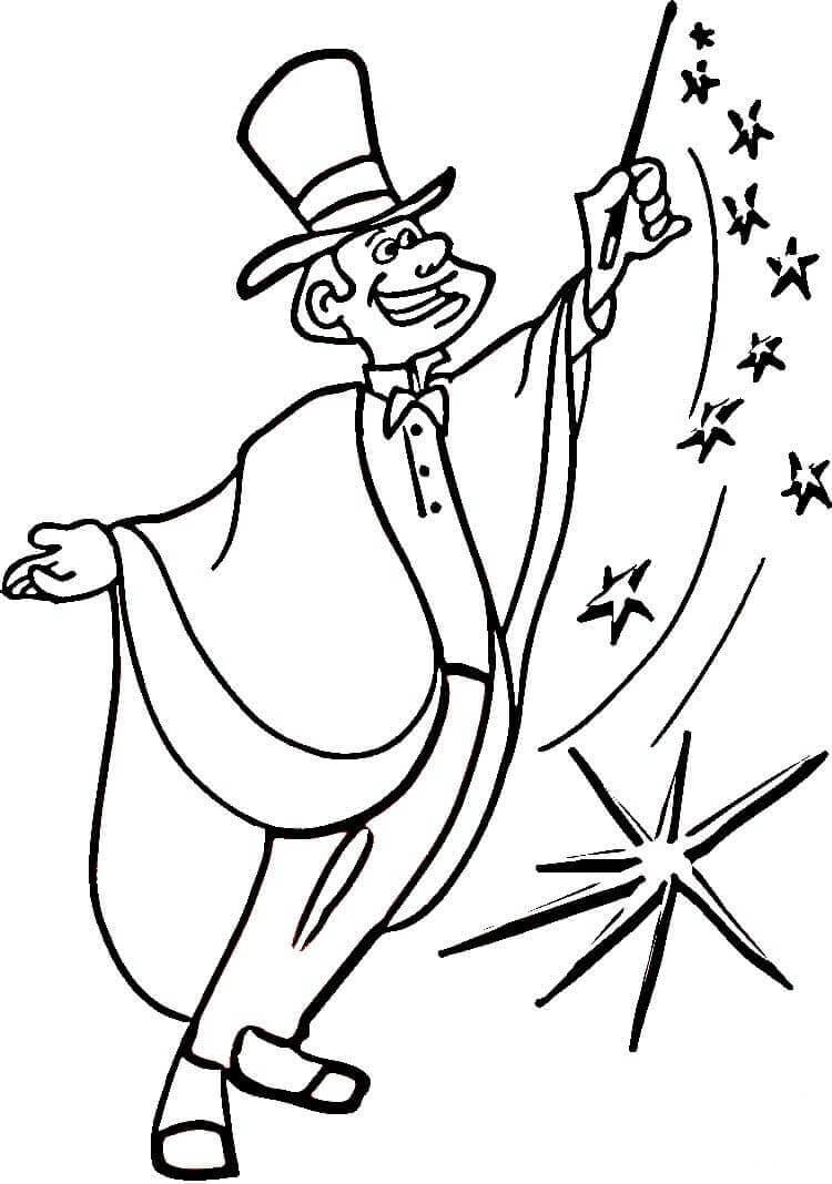 Magician From Circus Coloring Page