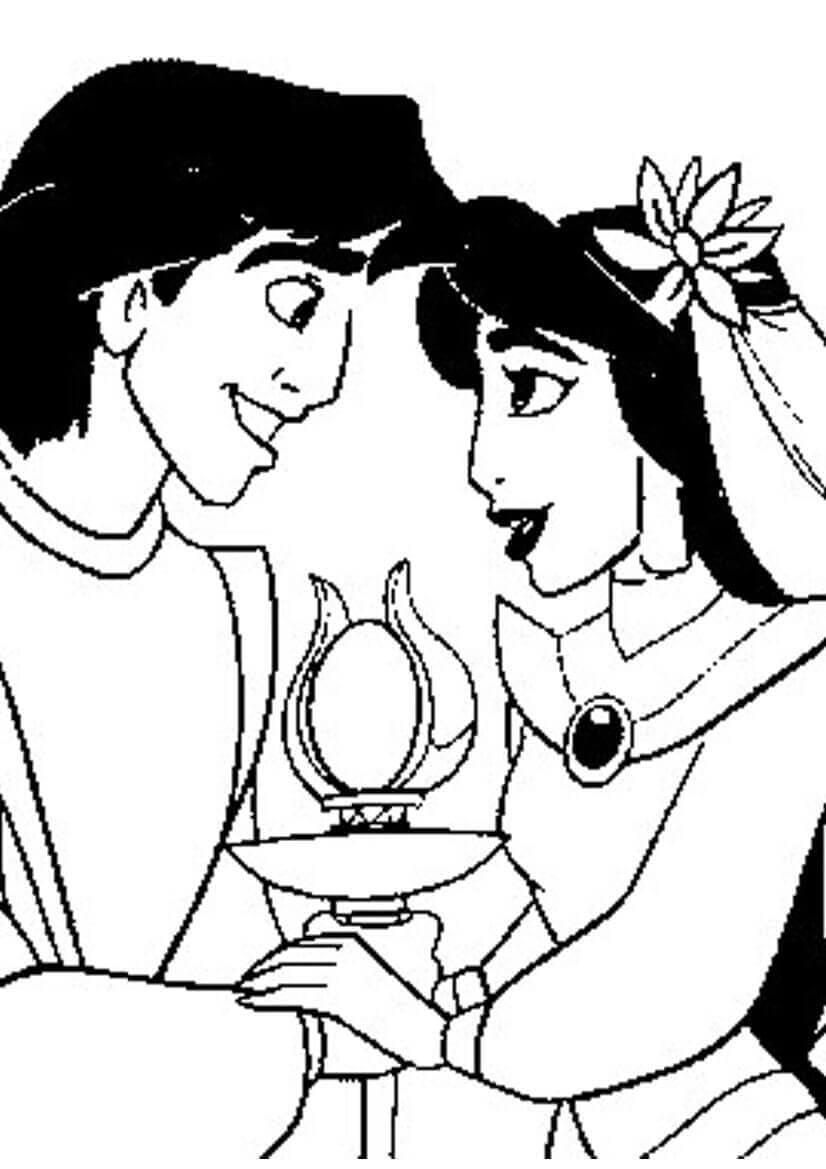 Princess Jasmine And Aladdin On Their Wedding