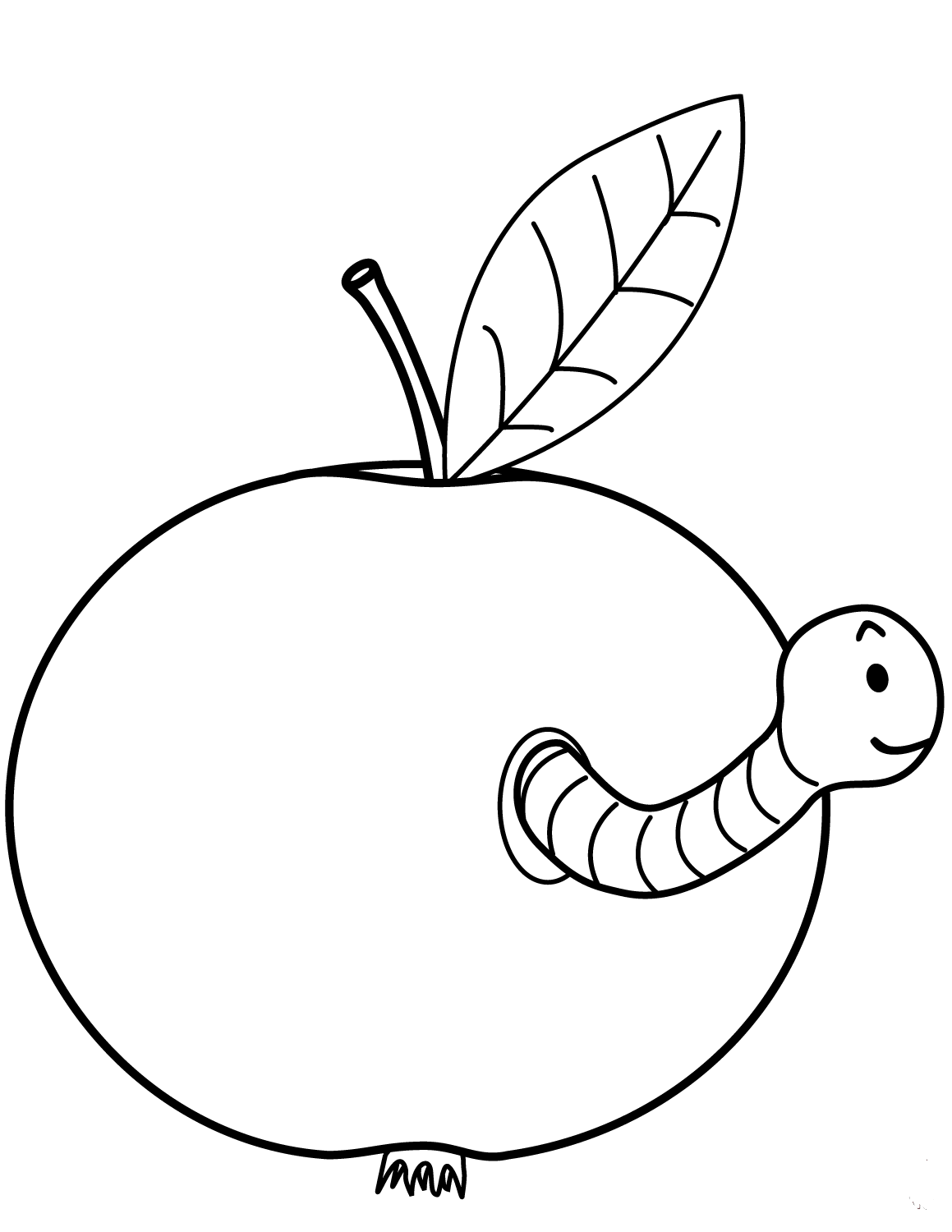 Worm Coming Out Of Apple