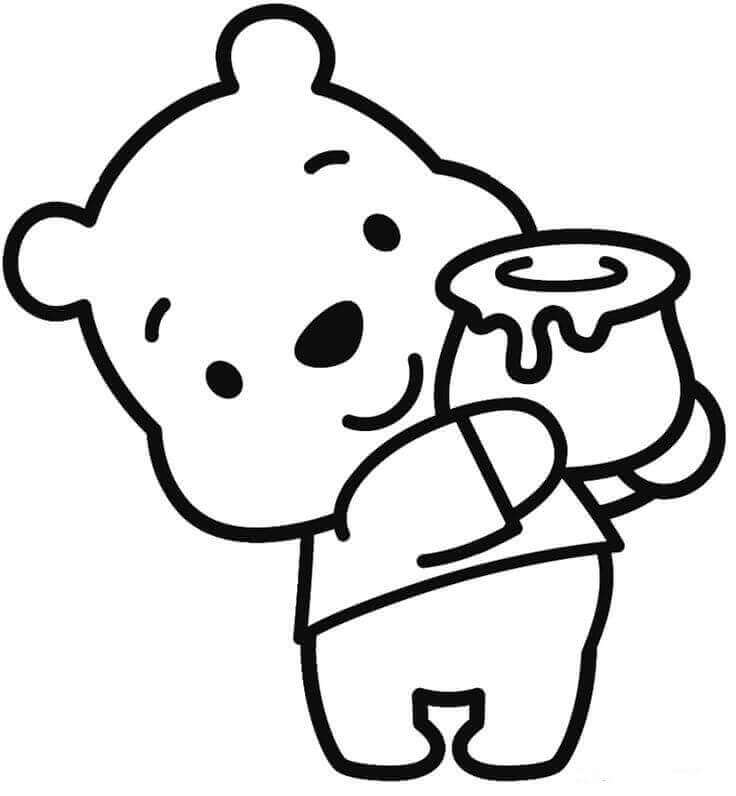 Baby Pooh With His Pot Of Honey