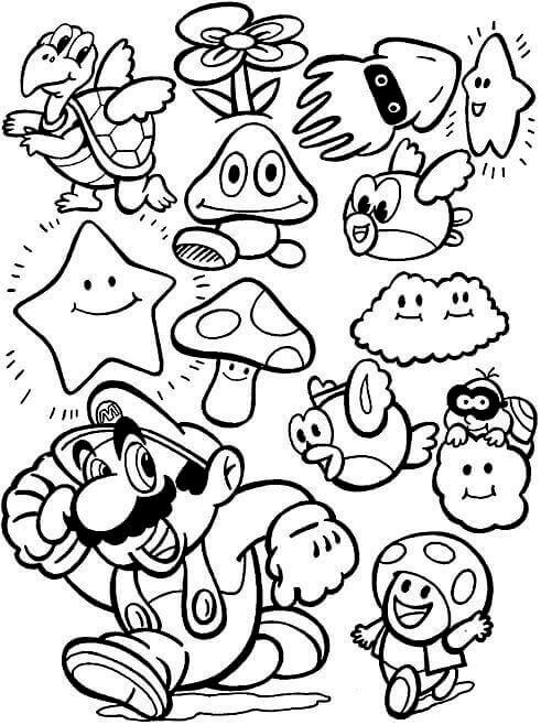 Cute Mario Coloring Page