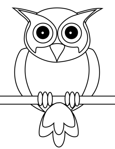 Easy Owl Coloring Page