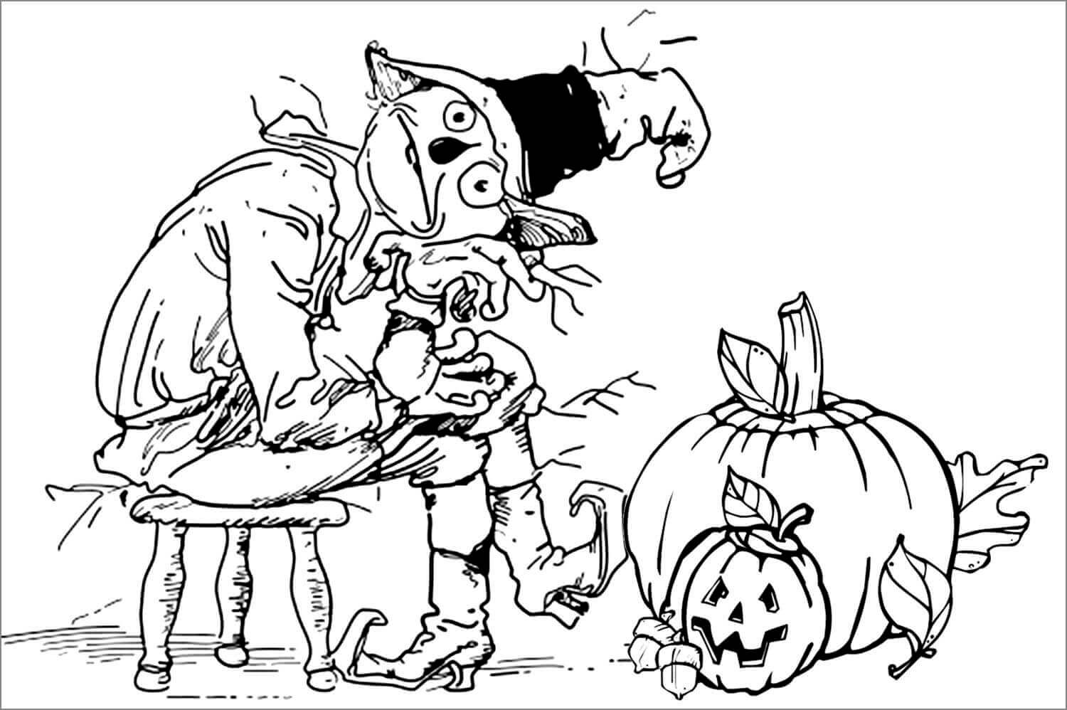 Halloween Pumpkin Patch Coloring Page ScribbleFun