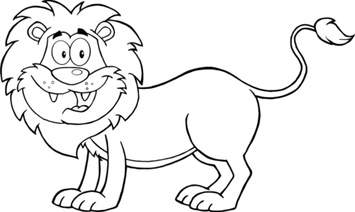 Happy Lion Coloring Page