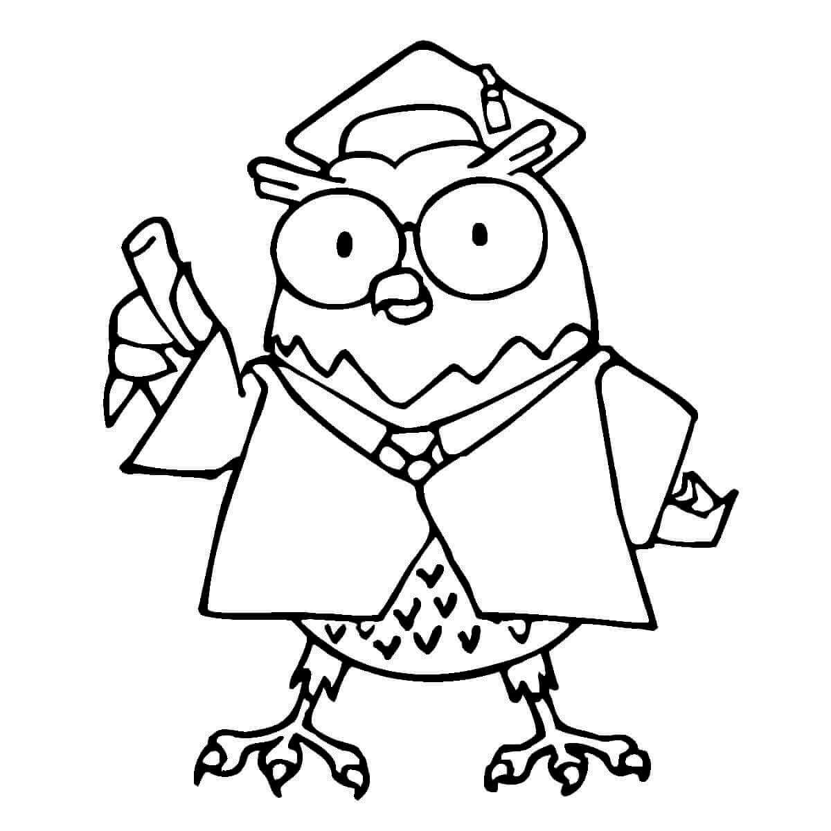 Professor Owl Coloring Page