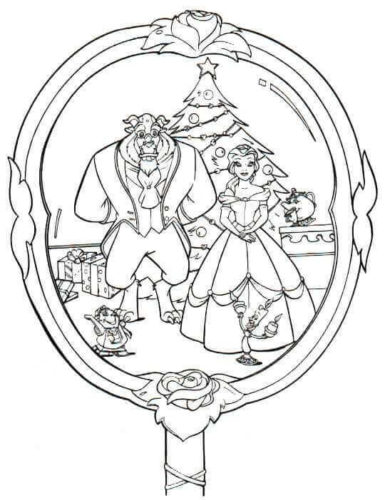 Beauty And The Beast Christmas Coloring Page