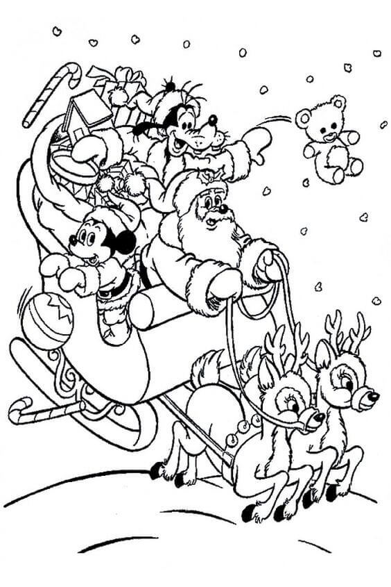Christmas Disney Colouring Pages