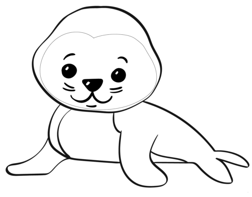 Cute Baby Seal Coloring Page