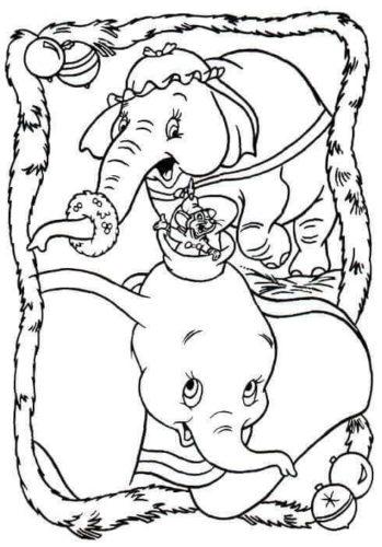 Dumbo Christmas Coloring Page