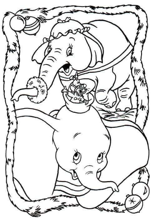 Dumbo Christmas Coloring Page