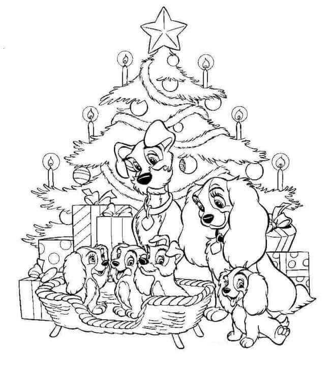 Lady And the Tramp Christmas Coloring Page