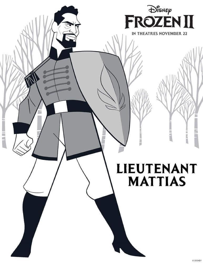 Lieutenant Mattias Frozen 2 Coloring Pages