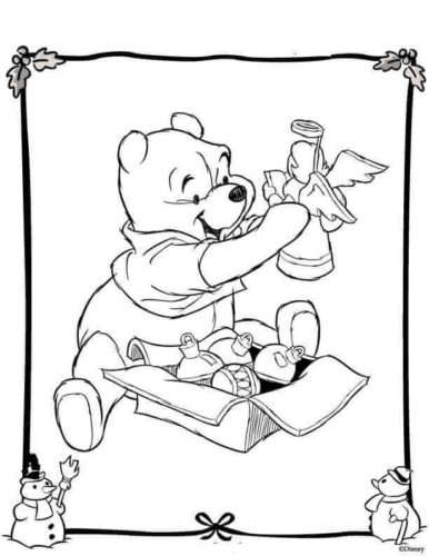 Pooh With Christmas Tree Decorations
