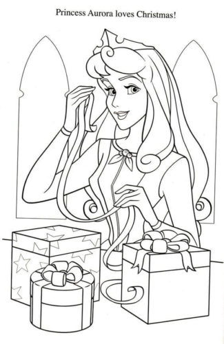 Sleeping Beauty Christmas Coloring Page