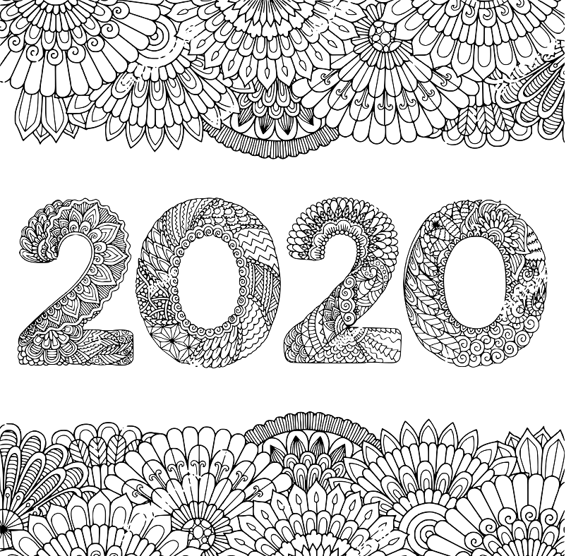 2020 New Year Coloring Pages