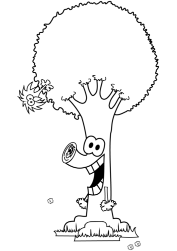 Cartoon Tree Coloring Page