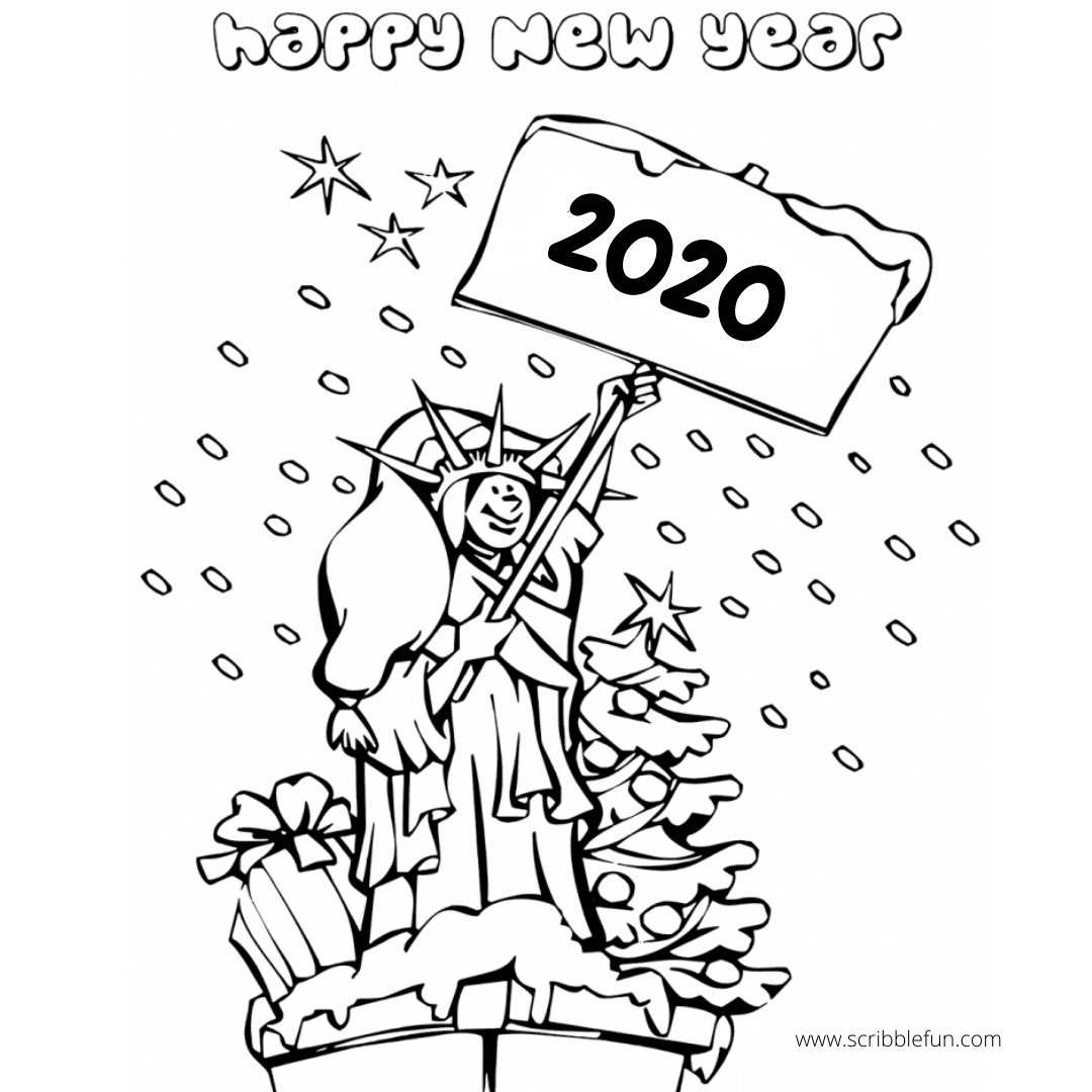 Happy New Year 2020 Coloring Pages