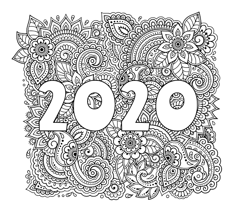 New Year 2020 Coloring Page For Adults