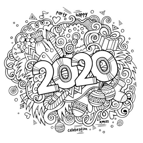 New Year 2020 Coloring Pages Printable