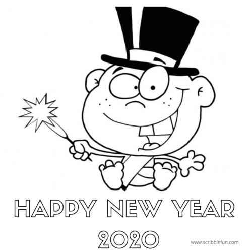 New Year 2020 Colouring In