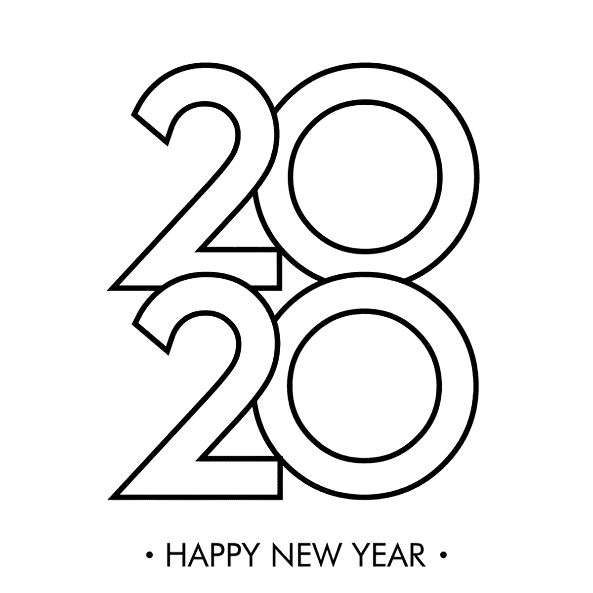 New Year 2020 Colouring Pages