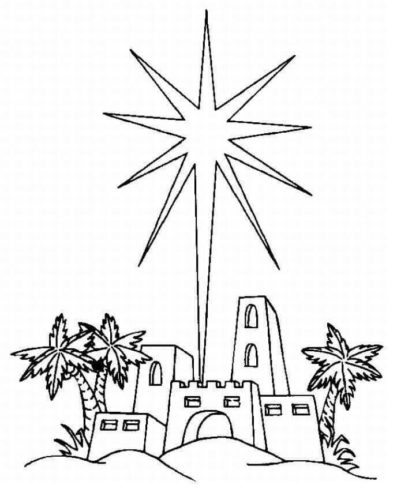 Printable Star Over Bethlehem Coloring page