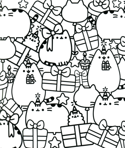Pusheen Christmas Coloring Page